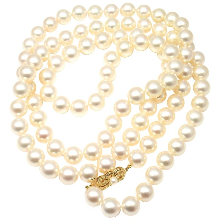 Mikimoto Cultured Akoya 10mm Pearl Gold 40 inch Long Necklace