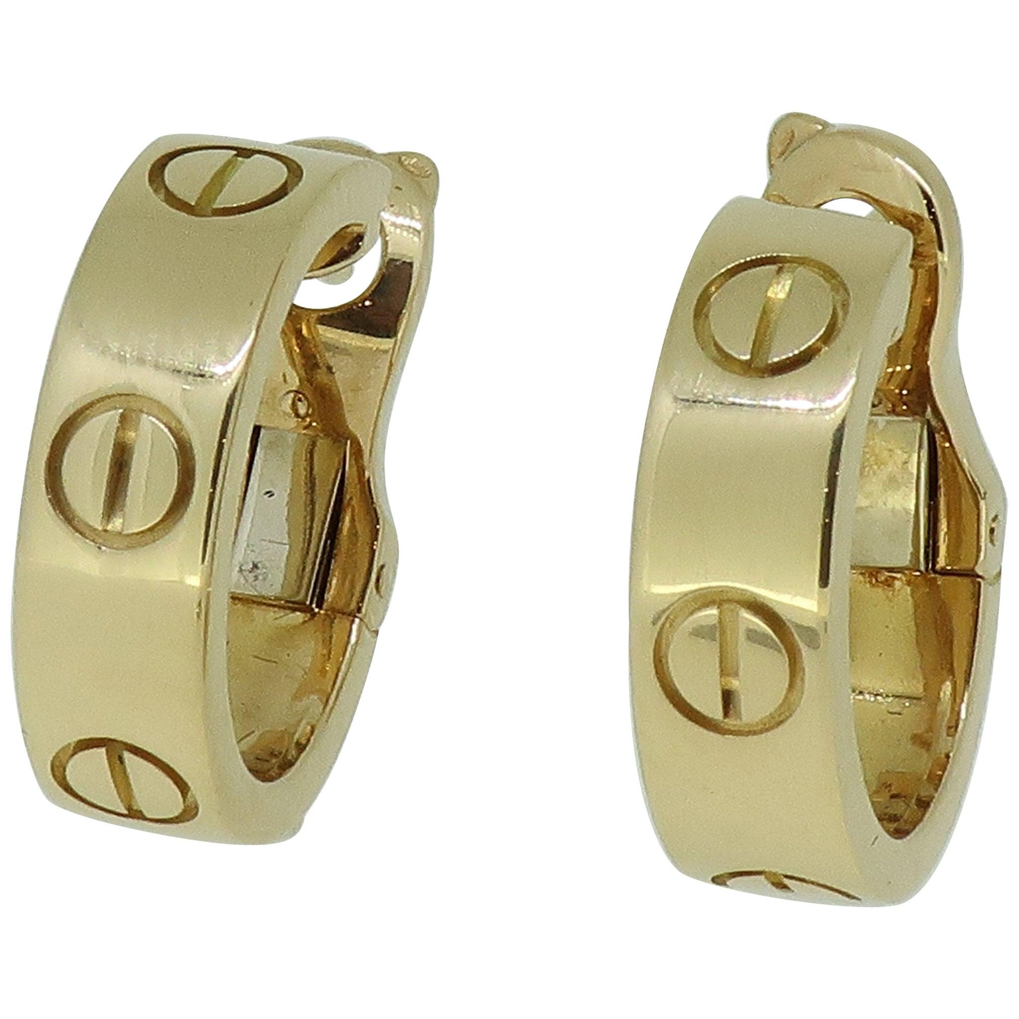 Gold Cartier 'Love' Hoop Earrings 18 Karat Yellow