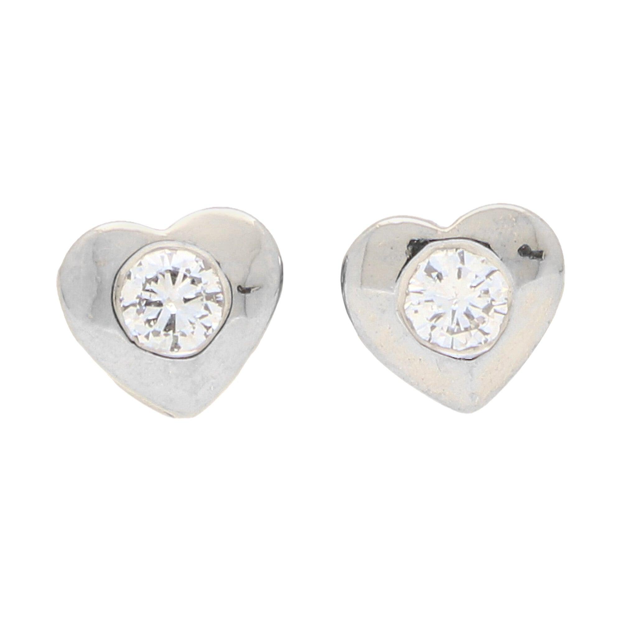 Diamond Heart Stud Earrings Set in 18k White Gold