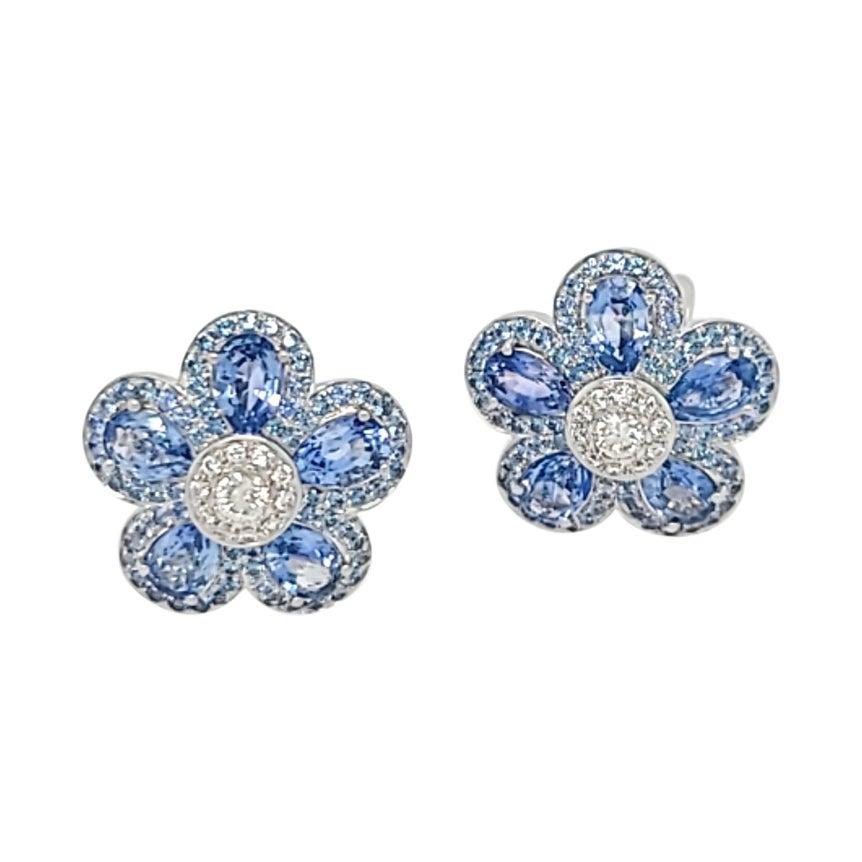 Cellini 18KT Gold 6.25 Carat Blue Sapphire and .50 Carat Diamond Flower Earrings