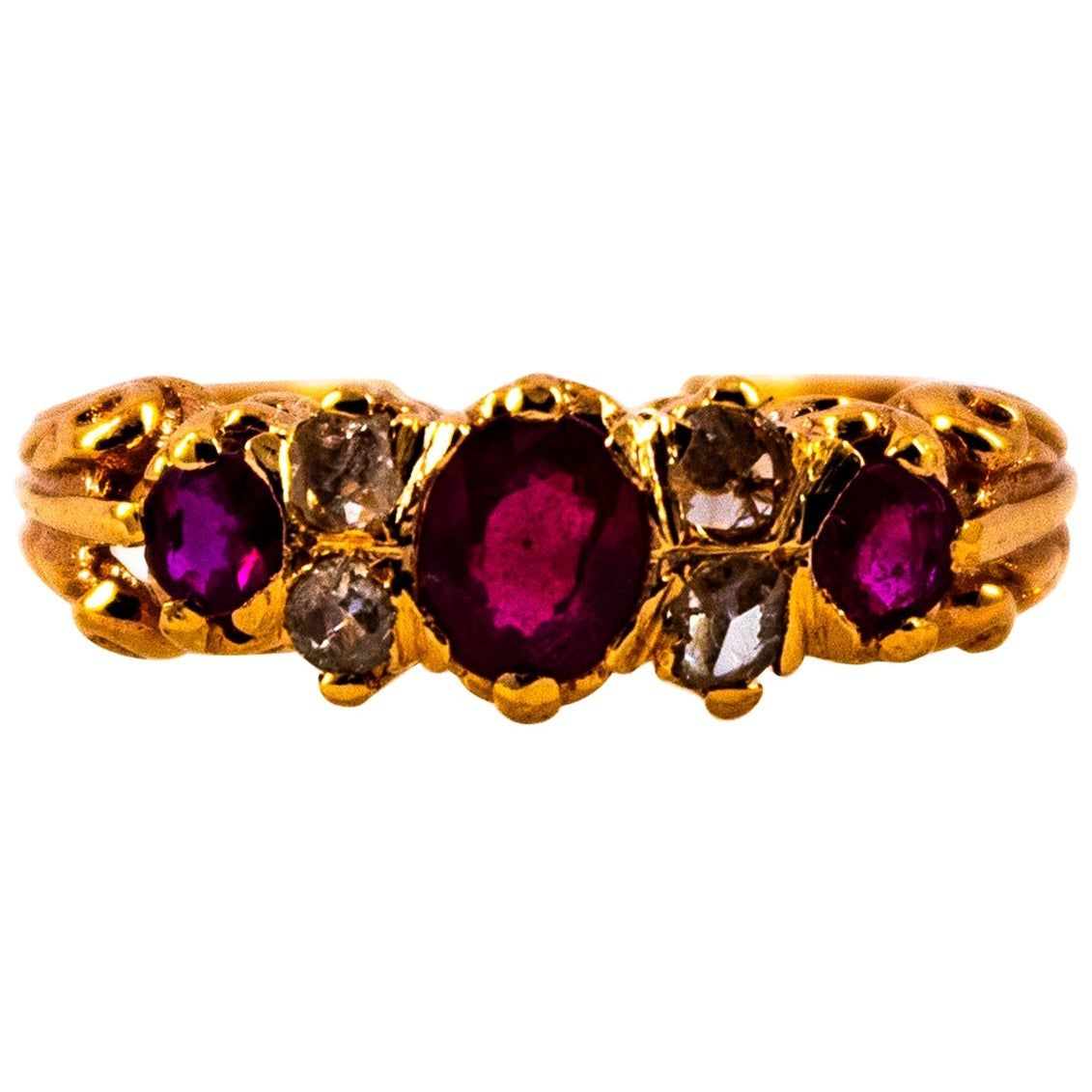 Art Deco 0.75 Carat White Rose Cut Diamond Oval Cut Ruby Yellow Gold Band Ring