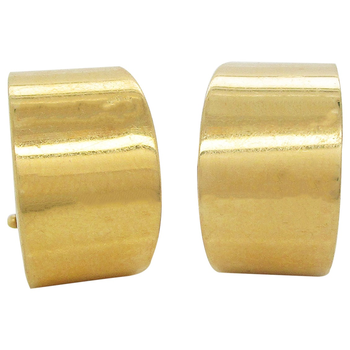 Italian 18 Karat Yellow Gold Omega Back Chunky Hoop Earrings
