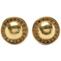Barry Kieselstein Cord Small diamond gold Domed Earrings