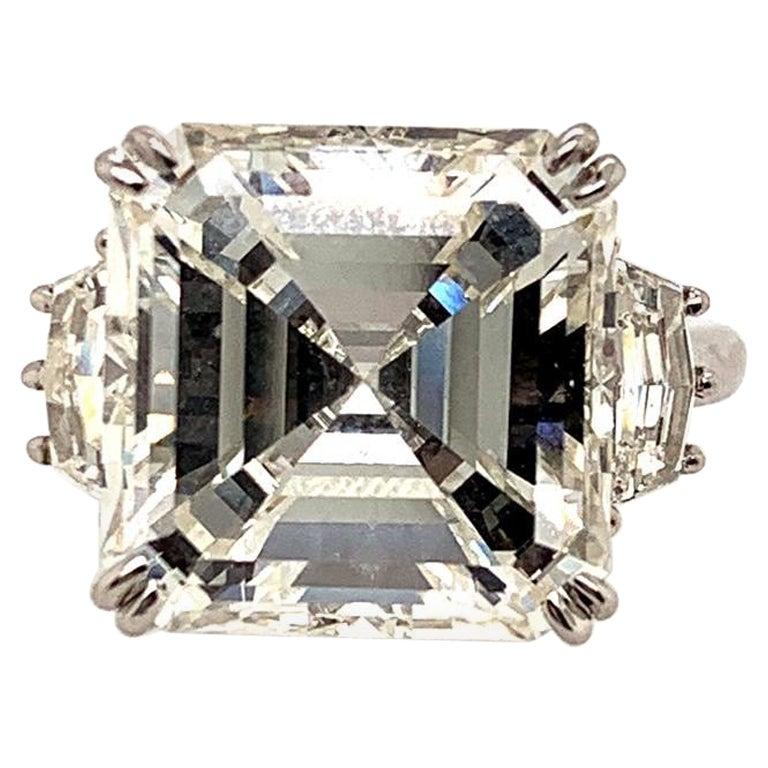 GIA Certified 11.32 Carat J VS2 Asscher Cut Diamond Ring