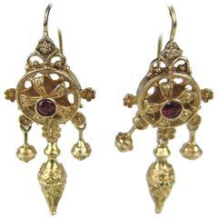 Spectacular Victorian 14 Karat Gold Dangle Earrings