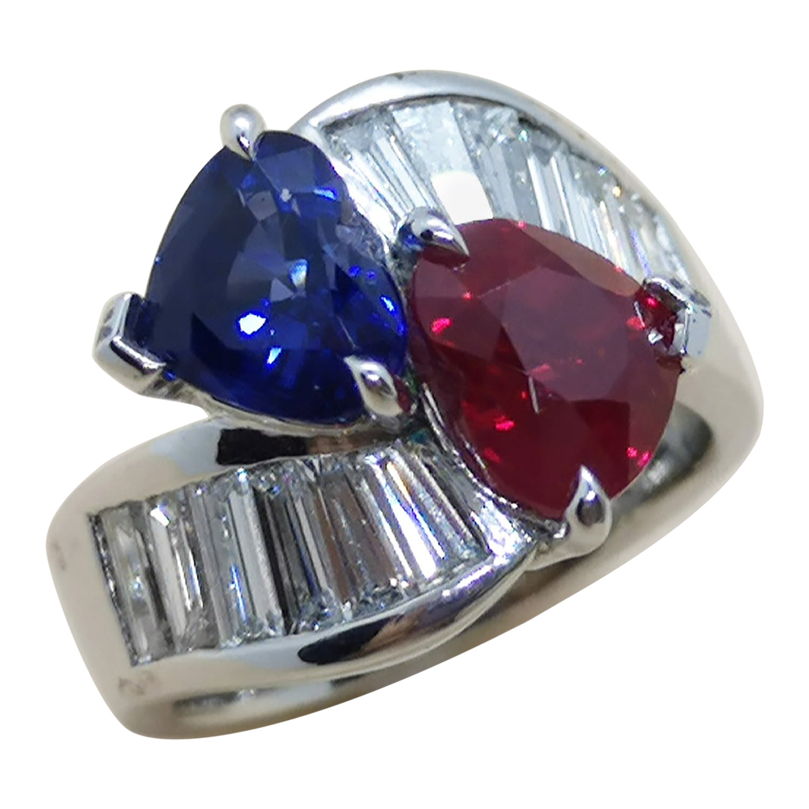 Heart Shape Ruby and Sapphire with Diamond Ring Set in Platinum 950 Settings