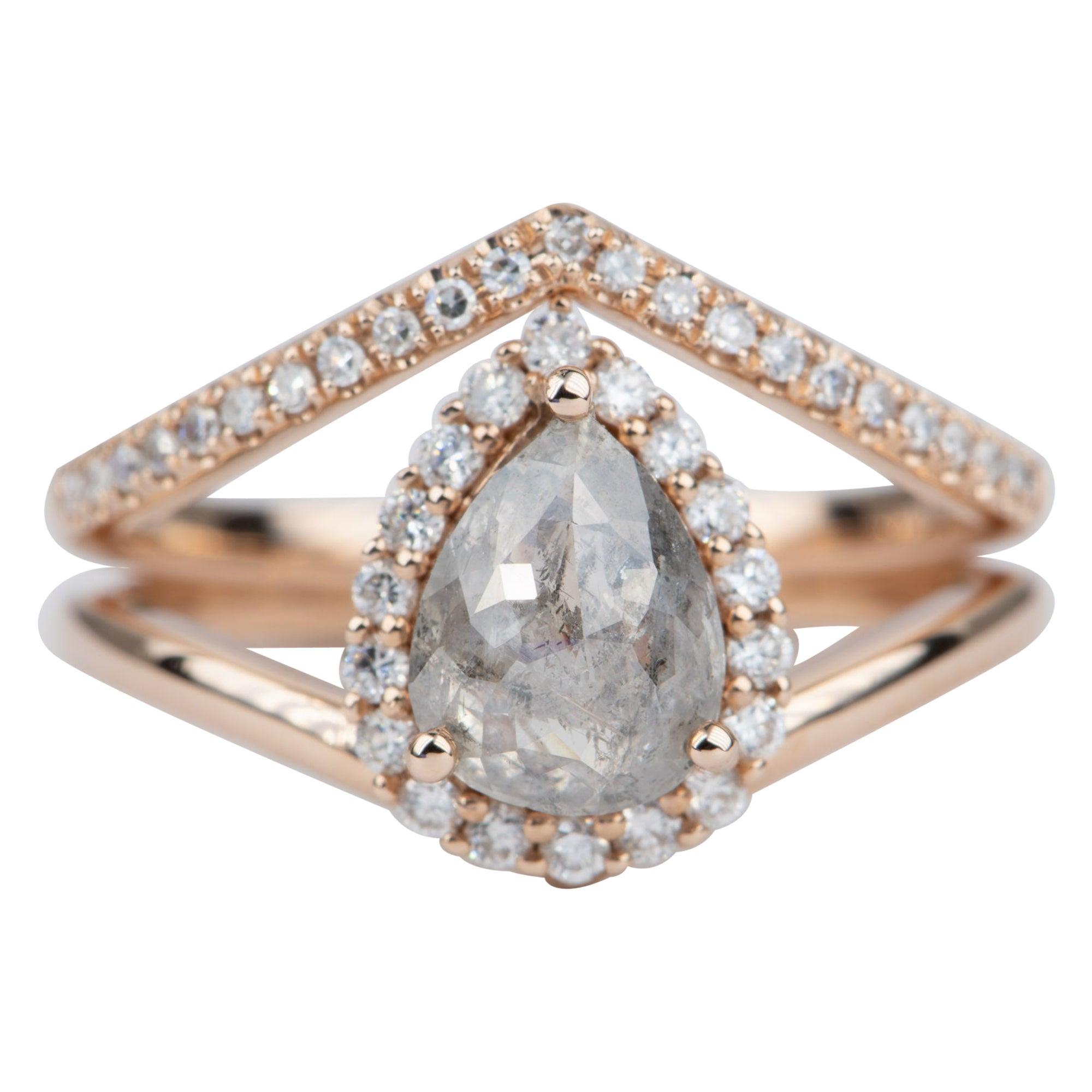 1.34 Carat Pear Shape Salt and Pepper Diamond 14 Karat Gold Ring Set AD2042
