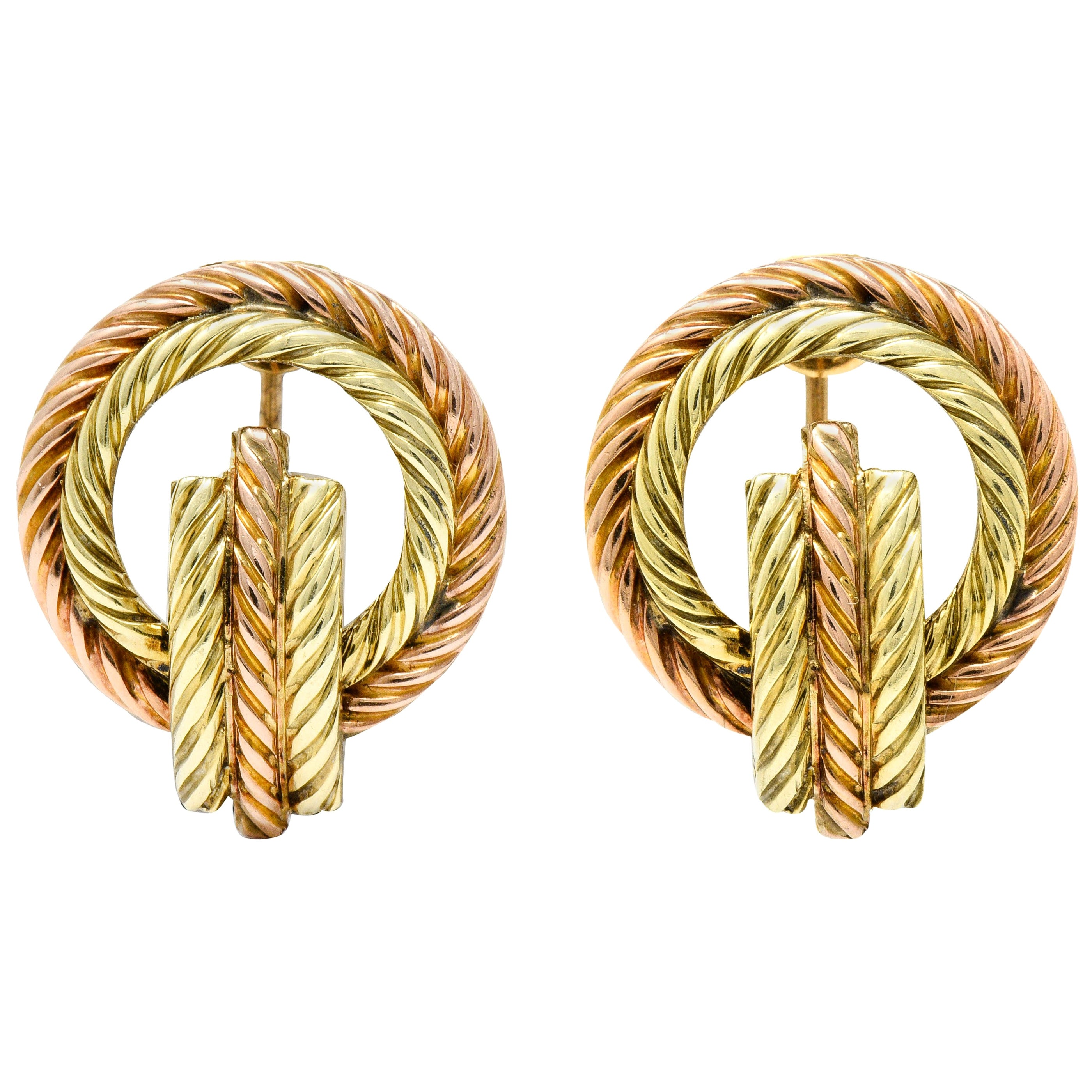 Tiffany & Co. Retro 14 Karat Two-Tone Gold Twisted Rope Screwback Earrings