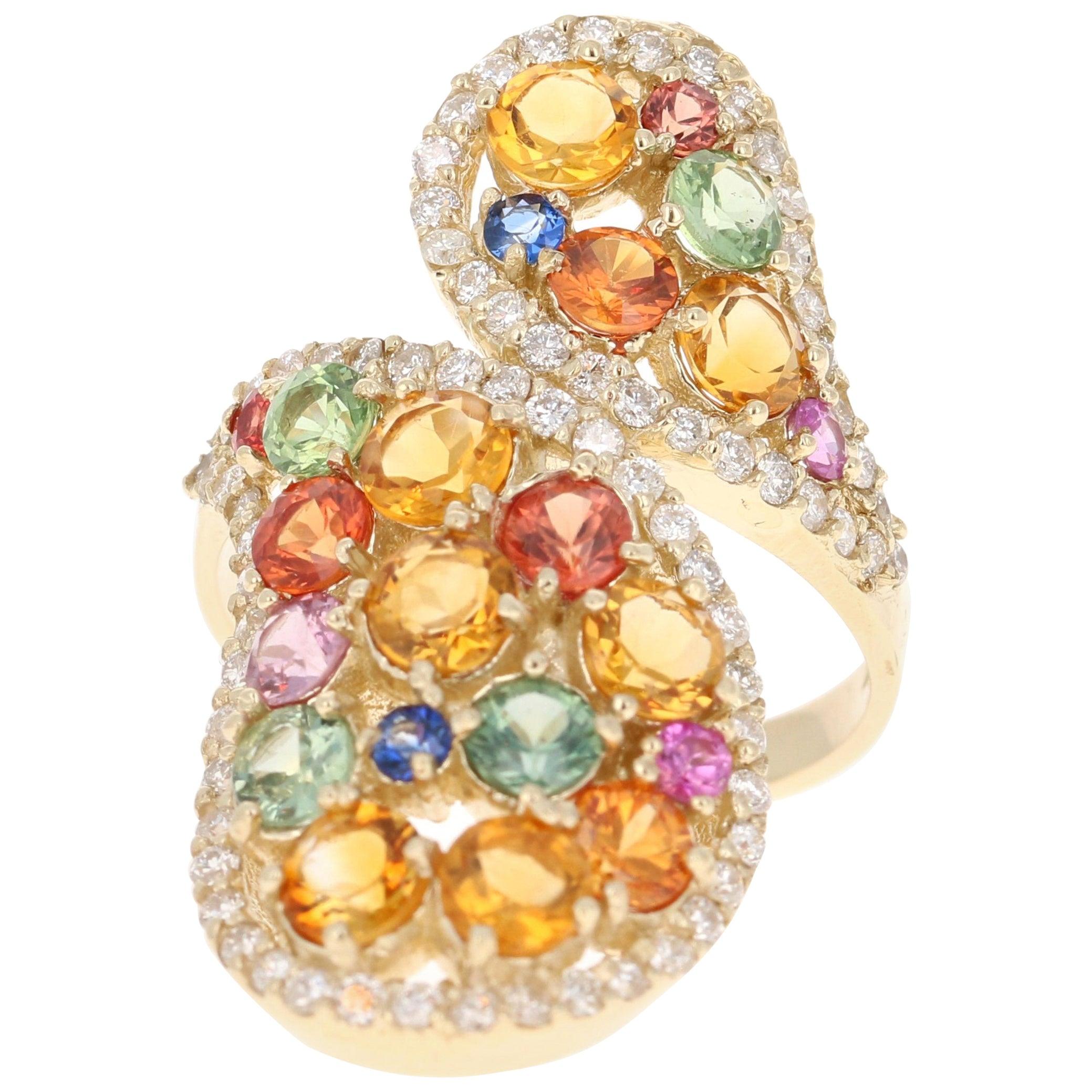 4.60 Carat Sapphire Topaz Diamond 14 Karat Yellow Gold Cocktail Ring