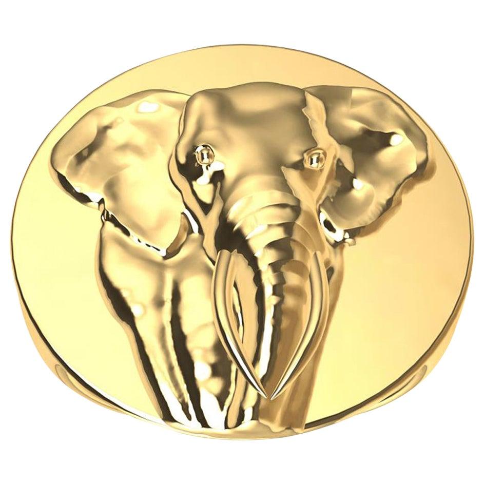 18 Karat Yellow Gold Women's Size 8 Elephant 2 Tusks Signet Ring