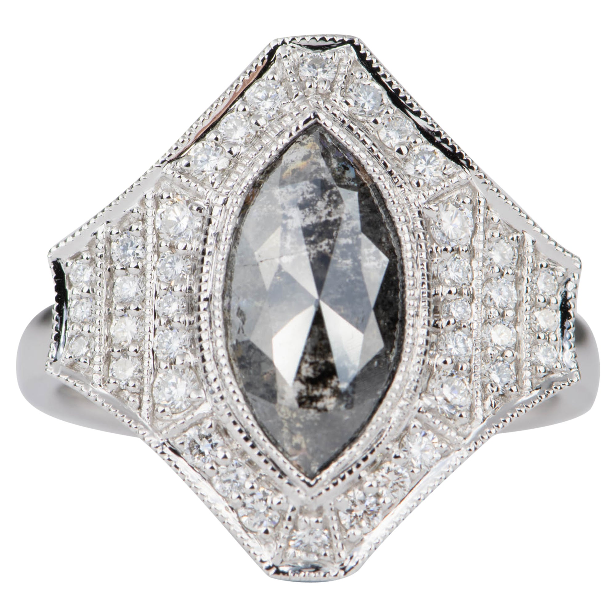 Marquise Salt and Pepper Diamond with Halo Ring 14 Karat White Gold AD2119