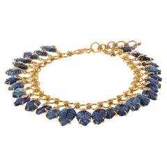 Blue Leaves Bracelet with 40.75 Carat Blue Sapphire and Rose-Cut Diamonds