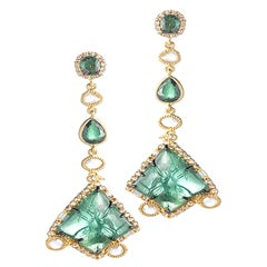 Carved Gold Earrings Set with Lapis Lazuli, Tsavorite, and Diamonds