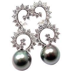 Angela Cummings Diamond Swirl Drop Tahitian Pearl Gold Platinum Earrings