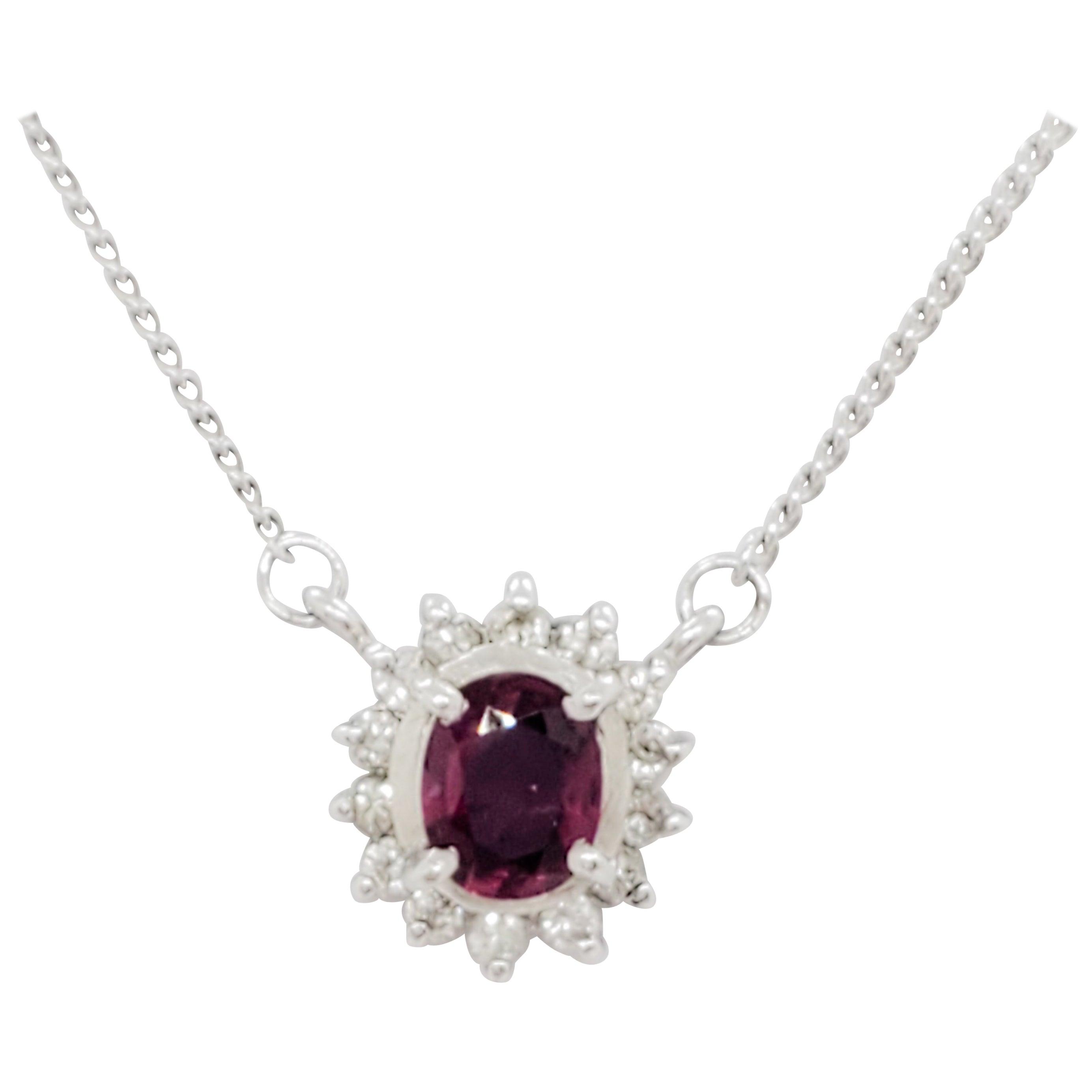 Estate Ruby and White Diamond Pendant Necklace in Platinum