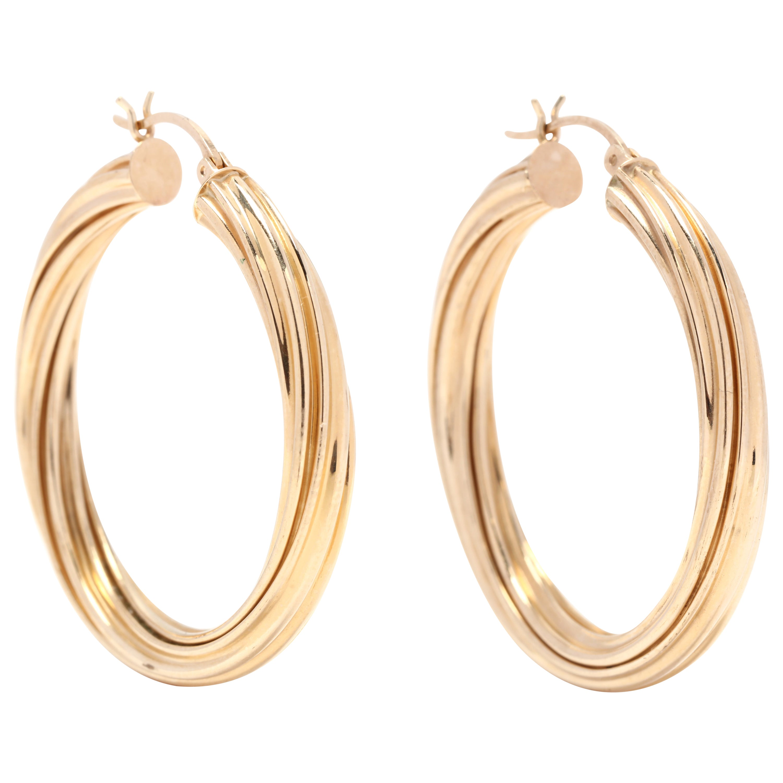 14 Karat Yellow Gold Large Twist Hoop Earrings