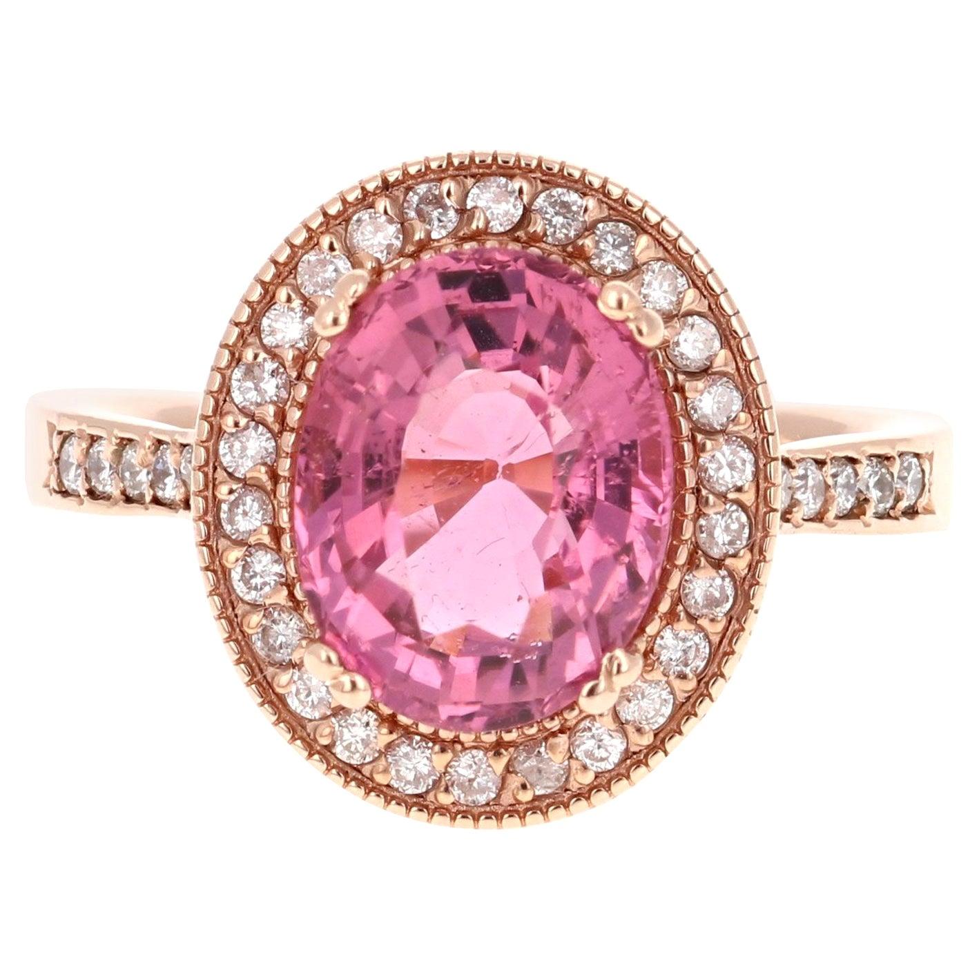 3.93 Carat Pink Tourmaline Diamond 14 Karat Rose Gold Ring