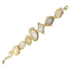 50.96 Carat Smoky Carved Moonstone Bracelet with Rose-Cut Diamonds