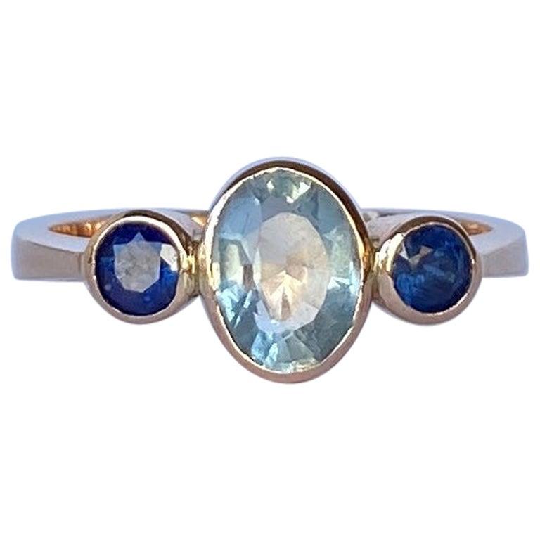 Vintage Sapphire and Aqua 9 Carat Gold Three-Stone Ring