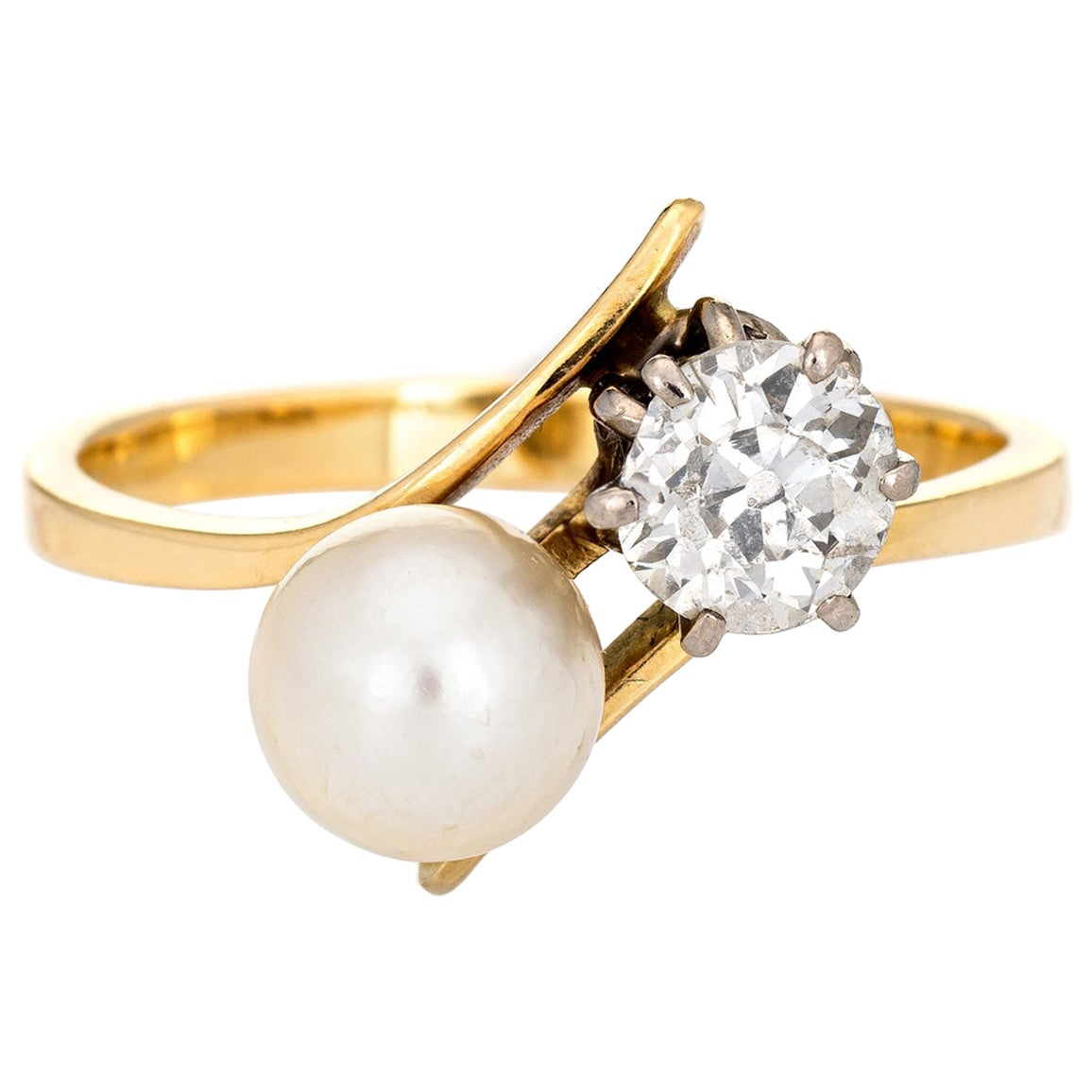 Antique Edwardian Ring Pearl 0.75 Carat Old Mine Diamond Moi et Toi 14k Gold