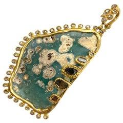 Beautiful Iridescent Patina Pendant with Roman Glass and 1.12 Carat Diamonds