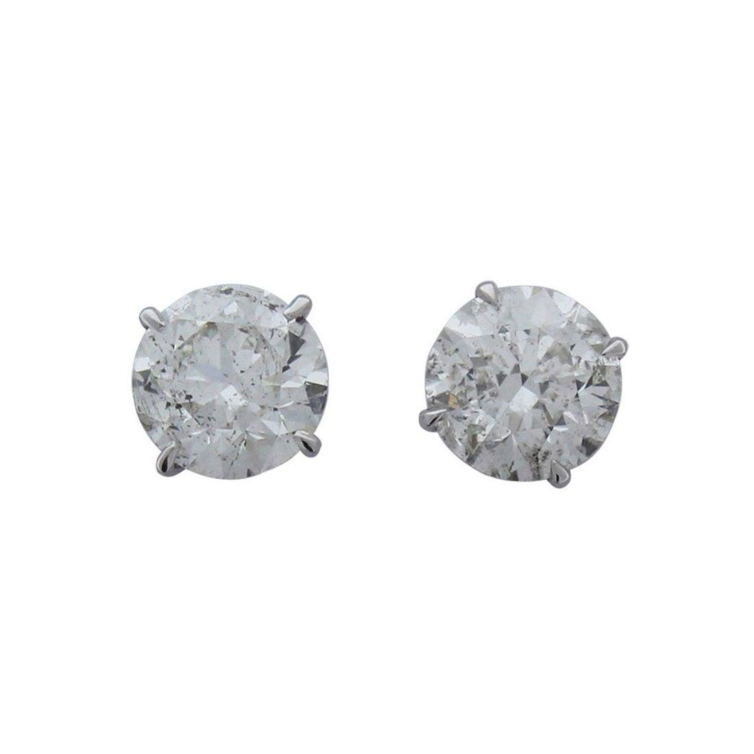 5.09 Carat Total Diamond Stud Earrings in 14 Karat White Gold