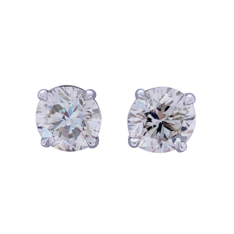 4.62 Carat Total Diamond Stud Earrings in 14 Karat White Gold