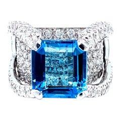 18 Karat White Gold Santa Maria Emerald Cut Aquamarine Diamond Cocktail Ring