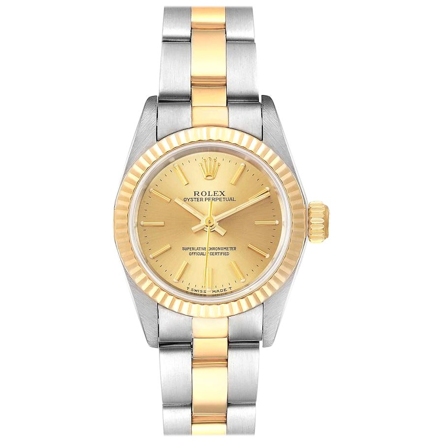 Rolex Oyster Perpetual Fluted Bezel Steel Yellow Gold Ladies Watch 67193 Box
