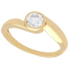 1950s French Diamond and Yellow Gold Twist Solitaire Ring