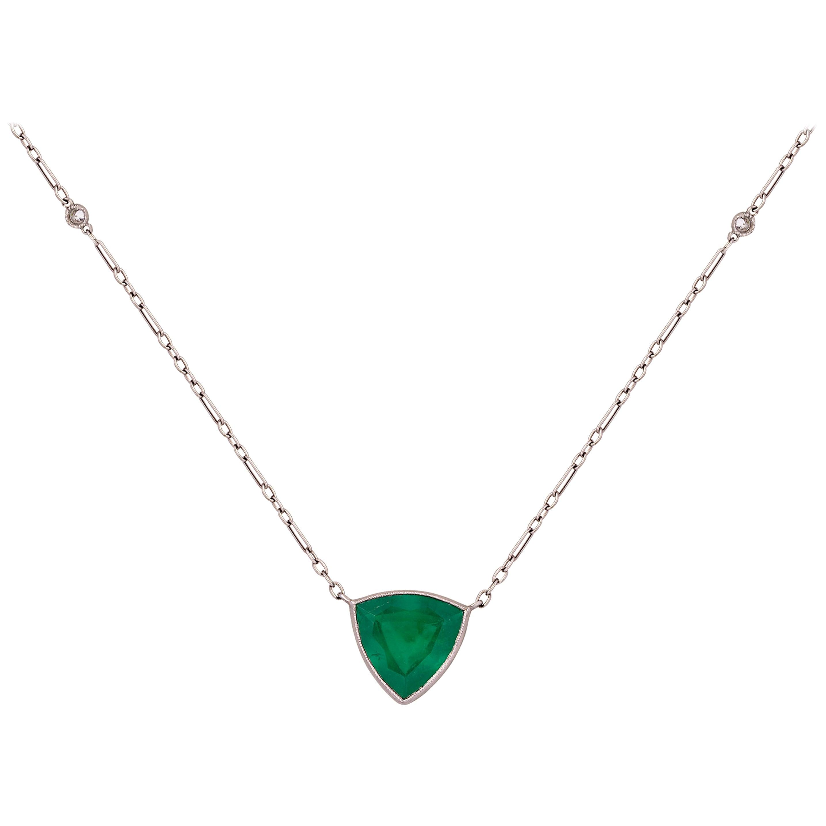 4.31 Carat Trillion Emerald and Diamond Antique Inspired Platinum Chain
