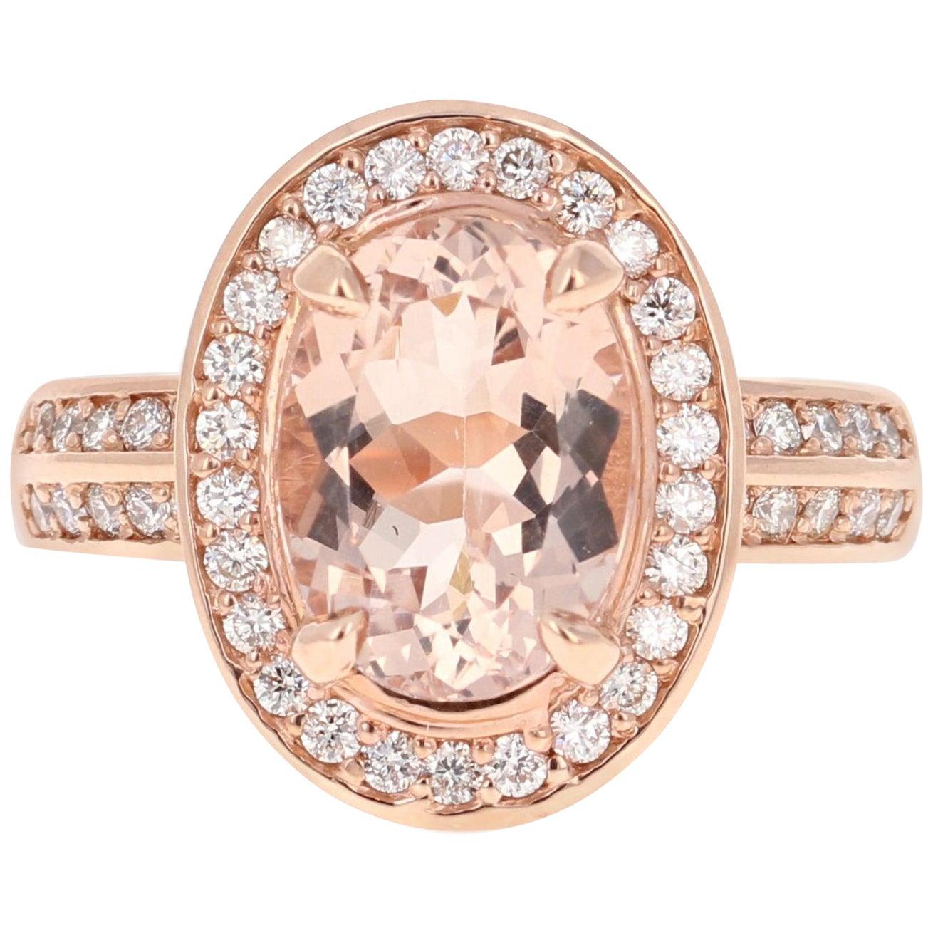 3.68 Carat Morganite Diamond 14 Karat White Rose Cocktail Ring