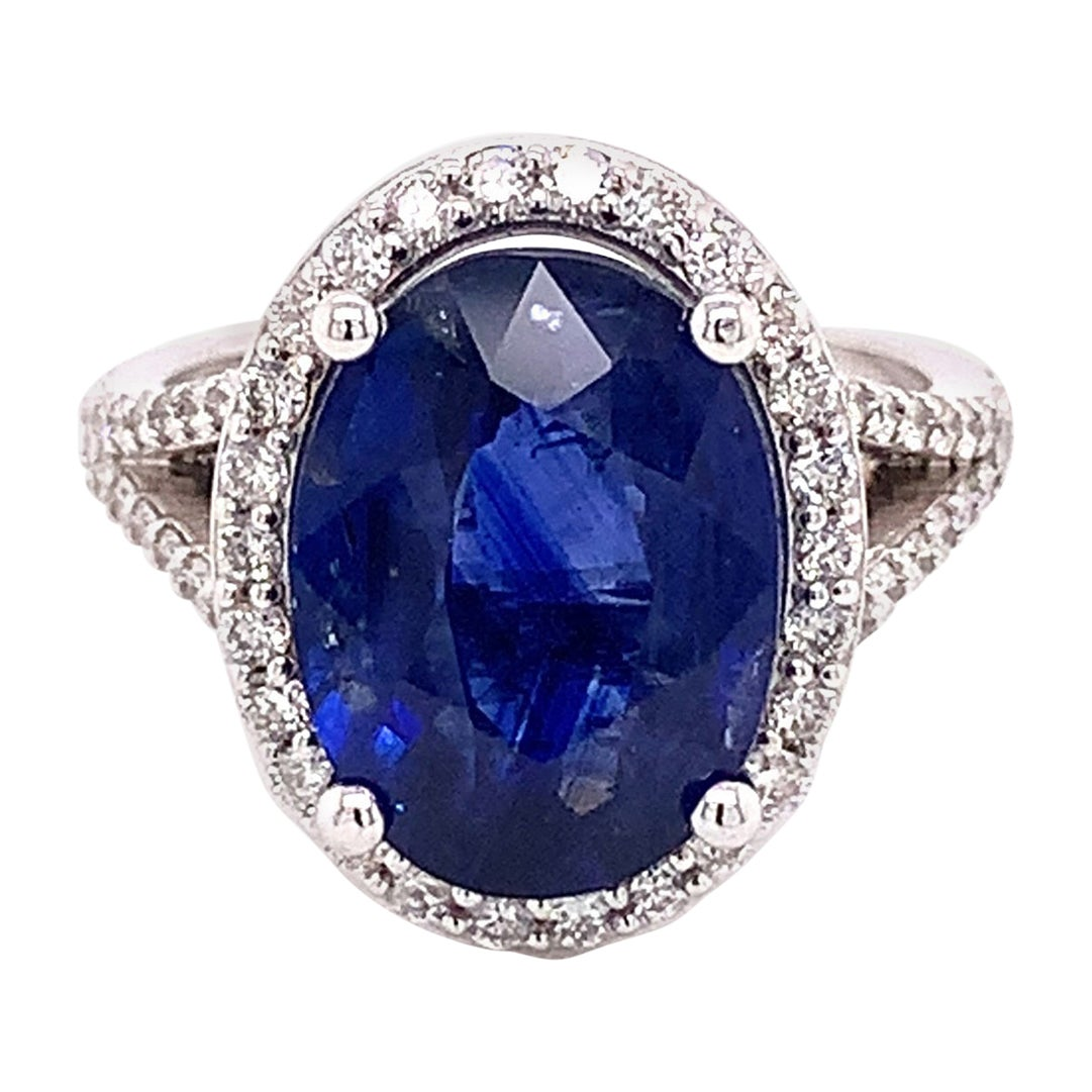 GIA Certified Natural Sapphire and Diamond 14k White Gold Ring