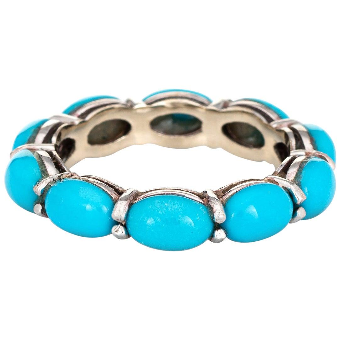 Turquoise Eternity Ring 14 Karat White Gold Estate Fine Jewelry Stacking Band