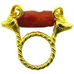 Antique Spinning Carved Carnelian Gold Ram Heads Ring