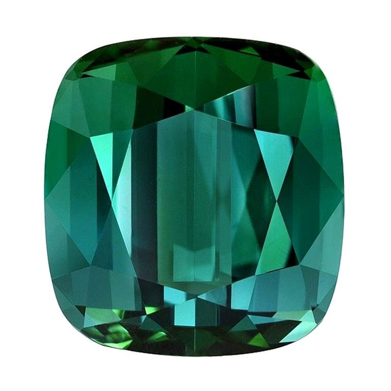 Blue Green Tourmaline Ring Gem 4.65 Carat Unset Cushion Loose Gemstone
