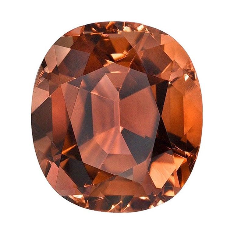 Deep Orange Tourmaline Ring Gem 5.23 Carat Cushion Loose Gemstone