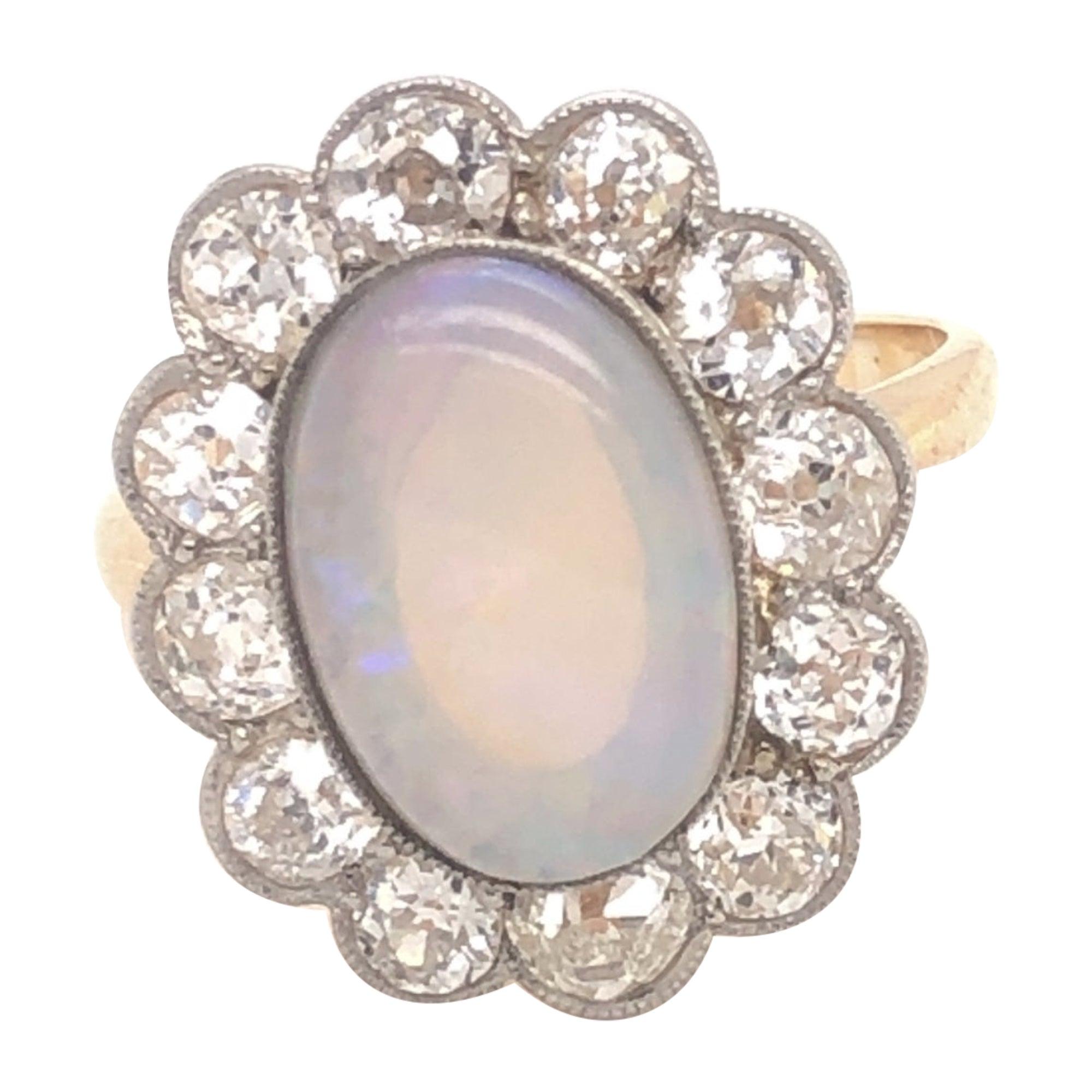 Art Deco French Opal Old Mine Cut Diamonds 18 Karat Yellow Gold Ring
