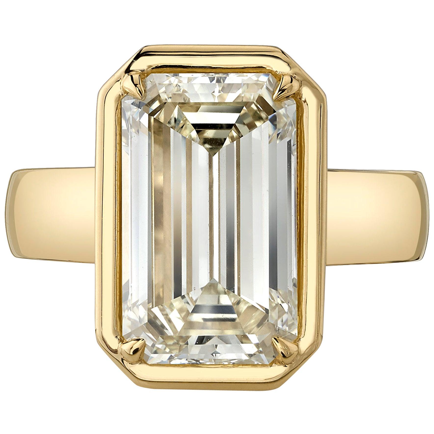 5.64 Carat Emerald Cut Diamond Set in a Handcrafted 18 Karat Yellow Gold Ring