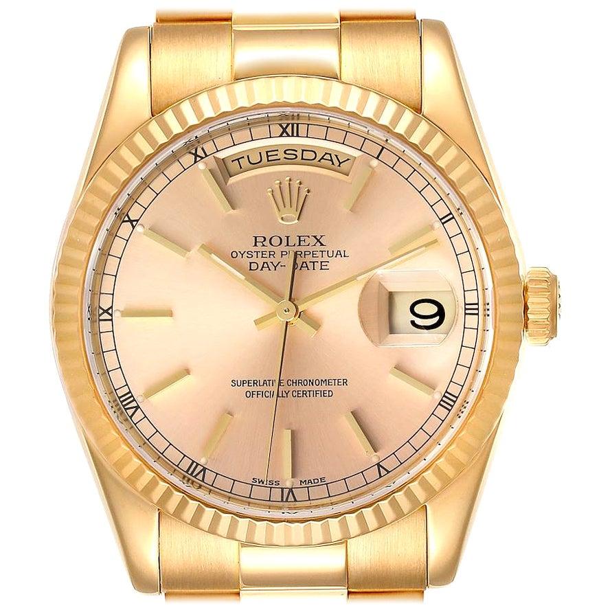 Rolex President Day Date Yellow Gold Men's Watch 118238