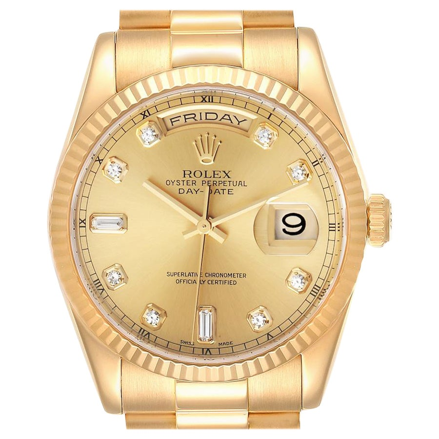 Rolex President Day-Date Yellow Gold Diamond Dial Men's Watch 118238