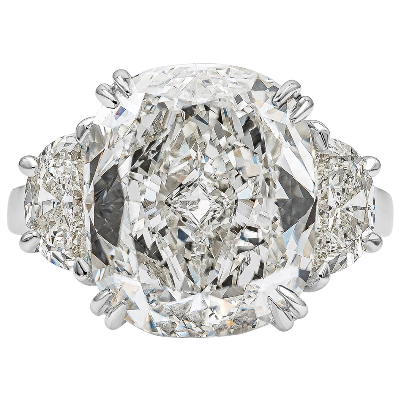 GIA Certified 10.02 Carat Cushion Cut Diamond Three-Stone Engagement Ring