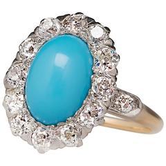 Late Victorian Era Turquoise Old Diamond Halo Ring