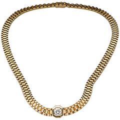 1980s .70 Carat Diamond Solitaire Rolex Style Necklace