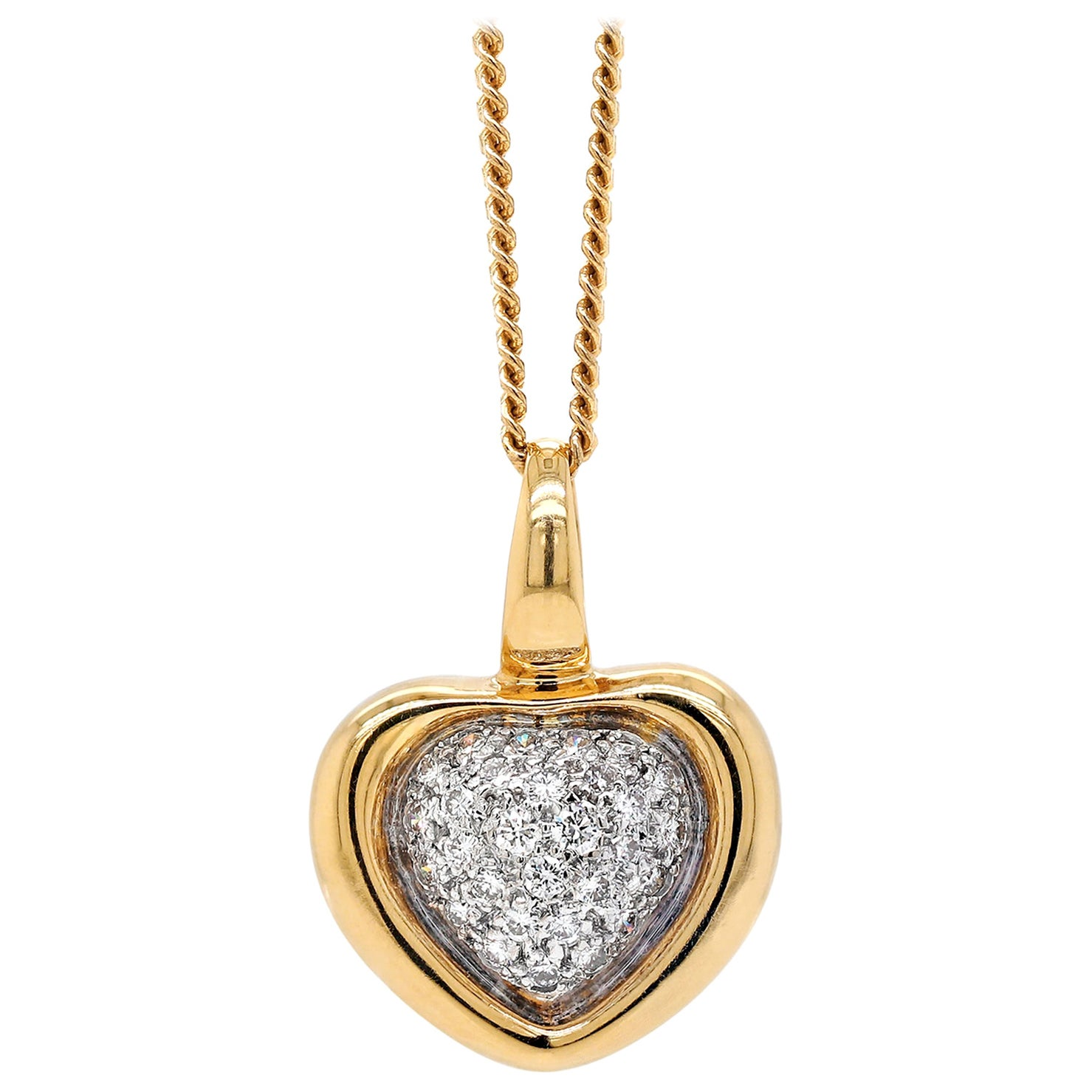Diamond 18 Carat Yellow and White Gold Heart Pendant and Chain