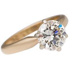 GIA Certified F/VS2 Round Brilliant 1.5 Carat Diamond Solitaire Ring