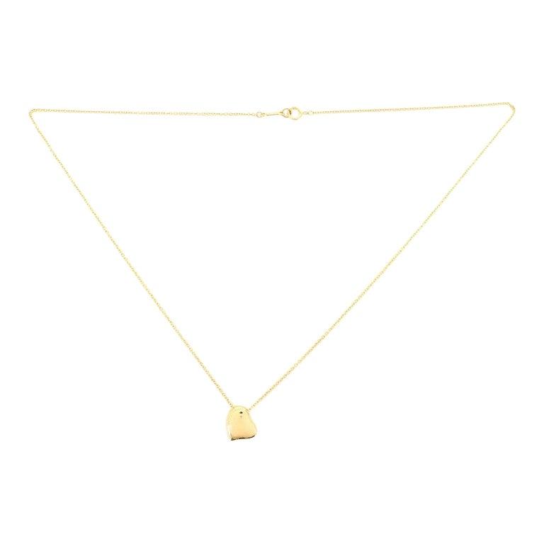 Tiffany & Co. Elsa Peretti Full Heart Necklace 18 Karat Yellow Gold