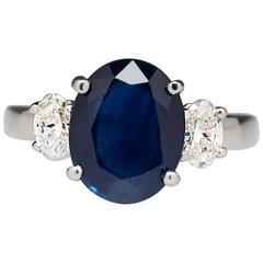 No Heat 3.5 Carat Blue Sapphire Diamond Three Stone Ring