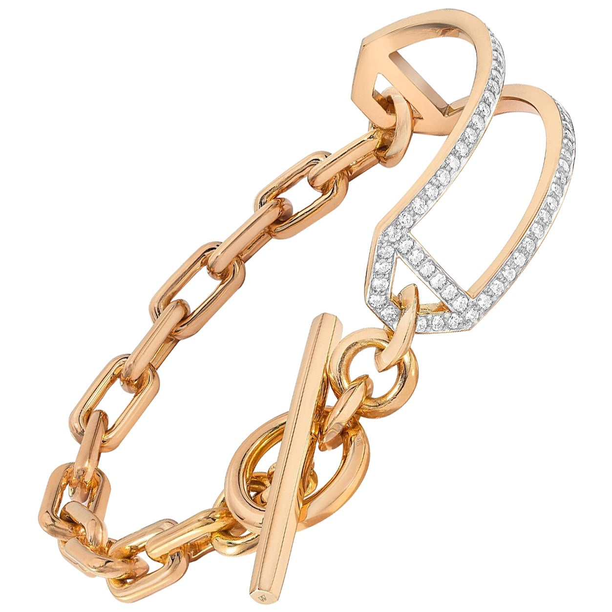 Walters Faith 18K Rose Gold and Diamond Side Cuff Chain Link Toggle Bracelet