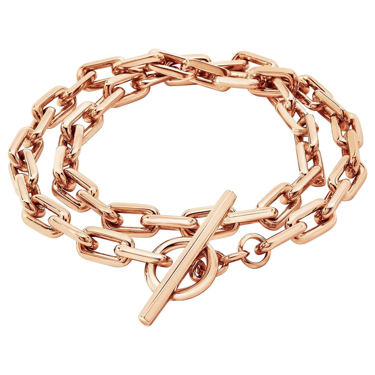 Walters Faith 18 Karat Rose Gold Double Wrap Chain Link Toggle Bracelet